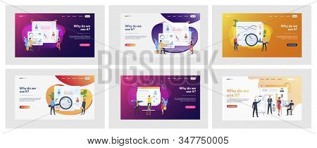 Set of business people analyzing curriculum vitae. Flat vector illustrations of men and women making statistics. Recruitment and analysis concept for banner, website design or landing web page stock photo