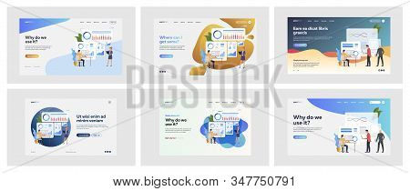 Set of business people making statistics. Flat vector illustrations of men and women using software. Report and analytics concept for banner, website design or landing web page stock photo