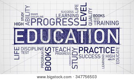 Education Wordcloud Concept. Educational Background With Words Practice, Educate, Learning On Graph Paper. Panorama stock photo