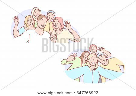 Selfie, friend, together, joy, photo, set. Young mates gathering for selfie together. Happy joyful friends photographing for group picture. Teen team making video for social media simple flat vector. stock photo