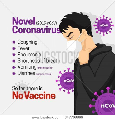 Novel coronavirus symptoms list infographic poster background design. man wearing face masker infected wuhan new virus vector flat illustration stock photo