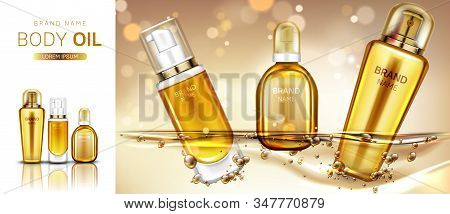 Body oil cosmetics bottles mockup banner. Beauty cosmetic product line for skin moisturizing and treatment on blurred golden background. Advertising promo for magazine. Realistic 3d vector, ad banner stock photo
