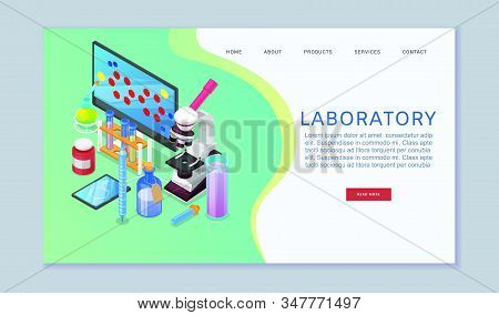 Chemistry laboratory analysis web banner vector illustration. Chemist research laboratory workspace. Chemical reactions web research with cartoon flasks, beakers and computer monitor with atoms. stock photo