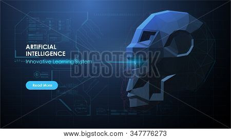 Artificial Intelligence AI, Future technology. Artificial intelligence or neural network concept. AI with robot face in abstract futuristic style. stock photo