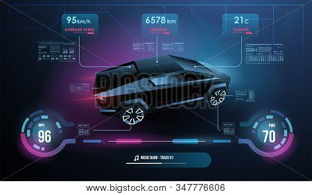 Modern sports car dashboard with navigation display. Cockpit of futuristic autonomous car. Abstract virtual graphic touch user interface. Car Auto Service, Modern Design, Diagnostic Auto. stock photo