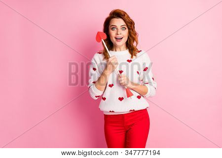 Portrait of her she nice attractive lovely pretty cute amorous glad cheerful cheery wavy-haired girl angel holding in hands arrow first date aim goal match isolated on pink pastel color background stock photo