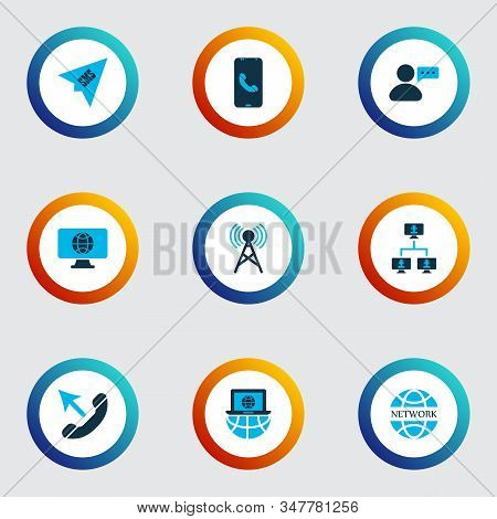 Communication icons colored set with linked computers, laptop communication, communication tower and other cellphone elements. Isolated vector illustration communication icons. stock photo