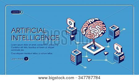 Artificial intelligence isometric landing page human brain surrounded with cubic shape AI processor chips with digital neurons network. Future innovation 3d illustration, line art web banner stock photo
