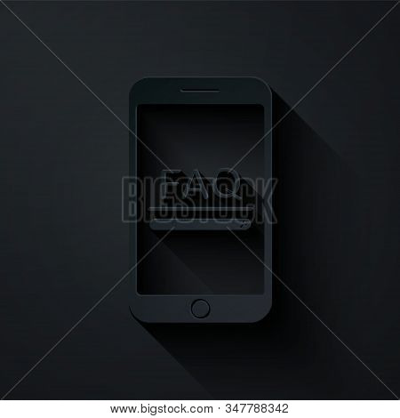 Paper cut Mobile phone with text FAQ information icon isolated on black background. Frequently asked questions. Paper art style. Vector Illustration stock photo