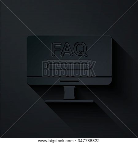 Paper cut Computer monitor with text FAQ information icon isolated on black background. Frequently asked questions. Paper art style. Vector Illustration stock photo