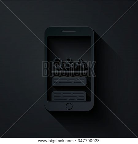 Paper cut Mobile phone with Question and Exclamation icon isolated on black background. Frequently asked questions. Paper art style. Vector Illustration stock photo