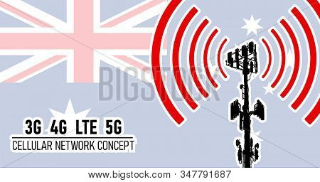 Cellular mobile tower - connection network concept for Australia, vector illustration of 3g 4g LTE and 5g dangerous waves from the cell tower, risk of 5G idea in colors blue, red, white stock photo