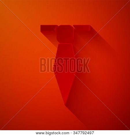 Paper cut Tie icon isolated on red background. Necktie and neckcloth symbol. Paper art style. Vector Illustration stock photo
