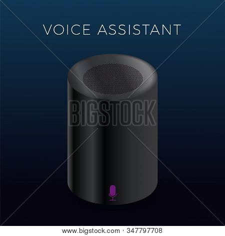 Voice Assistant vector icon. Cylindrical matte black smart speaker with microphone icon button. Personal online assistant, smart home sound recognition system. stock photo