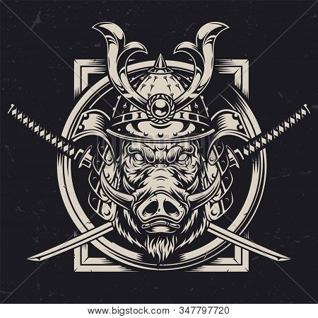 Animal warrior vintage monochrome concept with aggressive wild boar head in samurai metal helmet and crossed swords isolated vector illustration stock photo