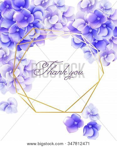 Wedding invitation card thank you with watercolor vibrant violet flowers stock photo