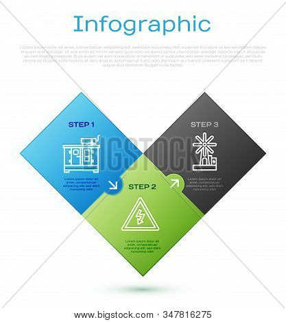 Set line Diesel power generator, Wind turbine and High voltage sign. Business infographic template. Vector stock photo