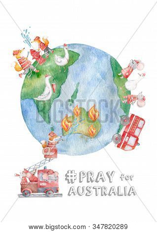 Australia fire with firefighter animals around the world baby help with baby and carrying water tube to stop fire pray for australia concept. Cute watercolor forest animals stock photo