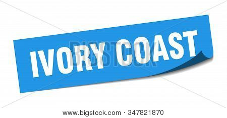 Ivory Coast sticker. Ivory Coast blue square peeler sign stock photo