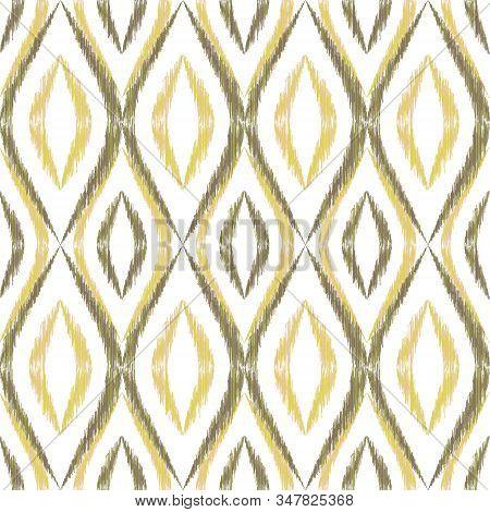 Ikat ogee seamless vector pattern design. Ethnic fabric print geometric ikat pattern. Minimal ogee seamless repeating background. Ethnic motifs ikat textile print design. Fashion ornament. stock photo