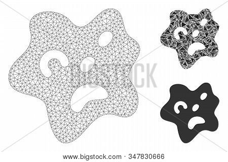 Mesh amoeba model with triangle mosaic icon. Wire frame polygonal mesh of amoeba. Vector mosaic of triangle elements in various sizes, and color hues. Abstract flat mesh amoeba, stock photo