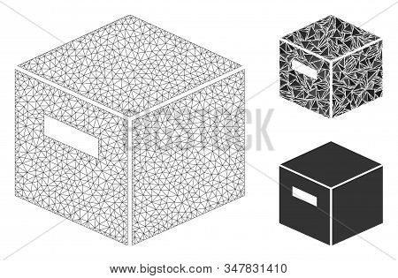 Mesh goods box model with triangle mosaic icon. Wire frame polygonal mesh of goods box. Vector composition of triangle elements in variable sizes, and color hues. Abstract 2d mesh goods box, stock photo