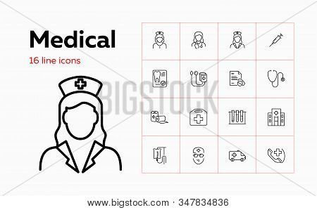 Medical icons. Set of line icons on white background. Doctor, drip feed, ambulance car. Vector illustration can be used for topics like medicine, healthcare stock photo
