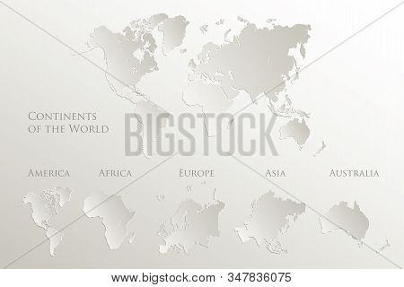 World continents map, America, Europe, Africa, Asia, Australia, Natural paper 3D vector stock photo