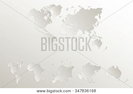 World continents map, America, Europe, Africa, Asia, Australia, Natural paper 3D blank stock photo