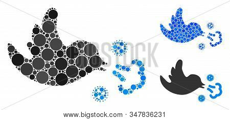 Bird infection composition of filled circles in different sizes and shades, based on bird infection icon. Vector filled circles are united into blue composition. stock photo