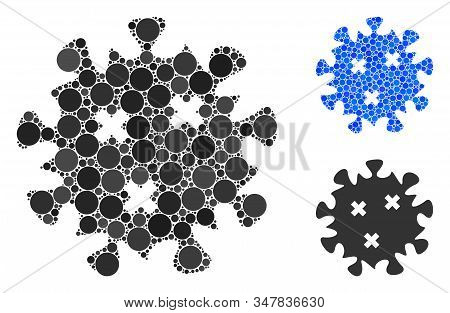 Infection virus mosaic of spheric dots in various sizes and color tones, based on infection virus icon. Vector dots are united into blue mosaic. Dotted infection virus icon in usual and blue versions. stock photo