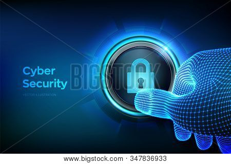 Cyber security. Protect and security of safe concept. Cyber data protection and information privacy. Closeup finger about to press a button with lock symbol. Just push the button. Vector illustration. stock photo