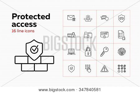 Protected access line icon set. Fingerprint, credit card, computer, lock. Secure concept. Can be used for topics like identification, safety, insurance stock photo