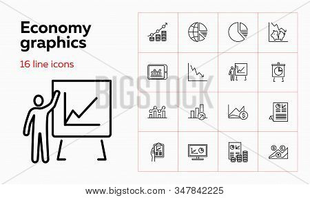Economy graphics icons. Set of line icons on white background. Graphic, money, diagram, rates. Vector illustration can be used for topics like economy, money saving, presentations stock photo
