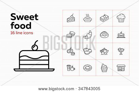 Sweet food icons. Set of line icons on white background. Cafeteria, teapot, pastry. Cafe concept. Vector can be used for topics like food, menu, unhealthy eating stock photo