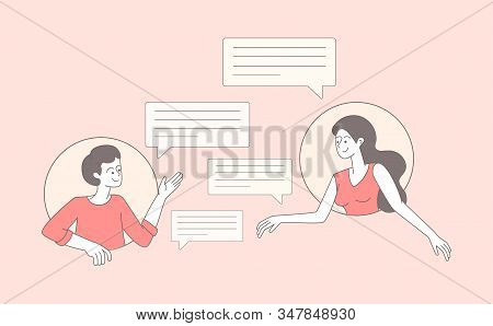 Friends exchanging emails outline vector illustration. Young couple, cheerful boy and girl chatting cartoon characters. Happy people and empty speech bubbles isolated on pink background stock photo