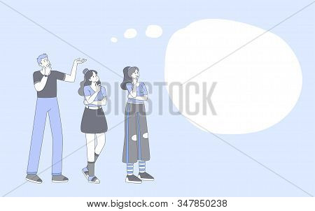 People thinking, brainstorming cartoon illustration. Young guy and stylish girls lineart characters with empty speech bubble isolated on blue background. Group problem discussing, solution searching stock photo