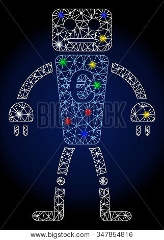 Flare mesh euro robot with glare effect. Abstract illuminated model of euro robot. Shiny wire carcass polygonal network euro robot icon. Vector abstraction on a dark blue gradient background. stock photo