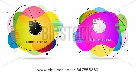 Color Stopwatch icon isolated on white background. Time timer sign. Chronometer. Abstract banner with liquid shapes. Vector Illustration stock photo