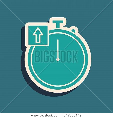 Green Stopwatch icon isolated on blue background. Time timer sign. Chronometer sign. Long shadow style. Vector Illustration stock photo
