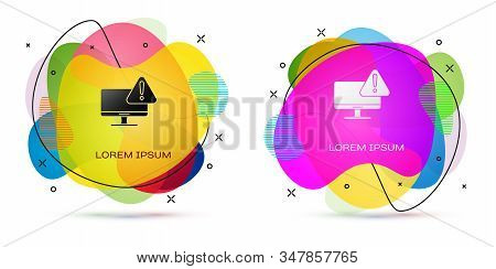 Color Computer monitor with exclamation mark icon isolated on white background. Alert message smartphone notification. Abstract banner with liquid shapes. Vector Illustration stock photo