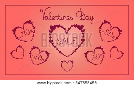 Advertising web banner sale Valentine Day. Vector. Hearts with discounts of 20%, 30%, 50%, 70%. Romantic coral background. Sell-out. Holiday print. stock photo