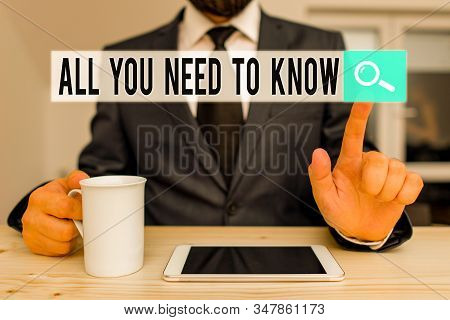 Text sign showing All You Need To Know. Conceptual photo Tell only the Facts and Important ones Access to Data Male human wear formal clothes present presentation use hi tech smartphone. stock photo
