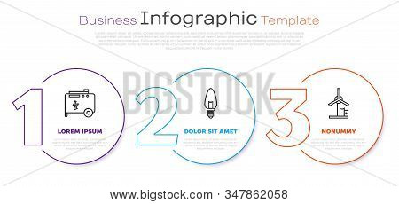 Set line Portable power electric generator, Light bulb and Wind turbine. Business infographic template. Vector stock photo