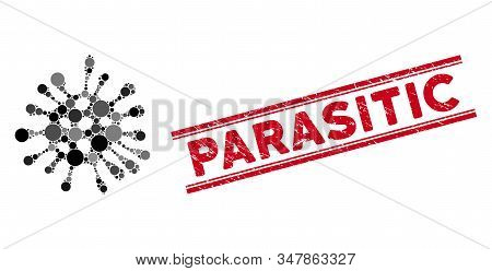 Mosaic microbe icon and distressed stamp seal with Parasitic text between double parallel lines. Mosaic vector is created from microbe icon and with random circle items. stock photo