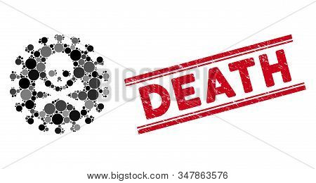 Collage death virus icon and grunge stamp watermark with Death text between double parallel lines. Mosaic vector is created with death virus icon and with randomized spheric spots. stock photo