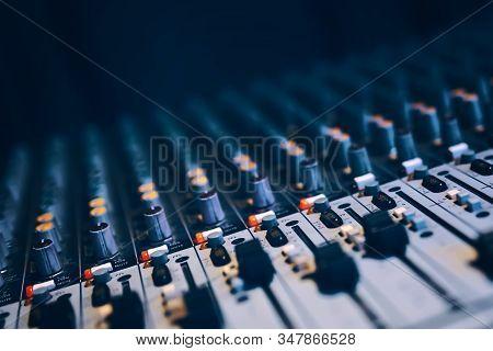Sound remote. Sound recording director or sound guy console. stock photo