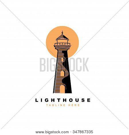 Lighthouse logo design vector template.Beacon symbol illustration stock photo