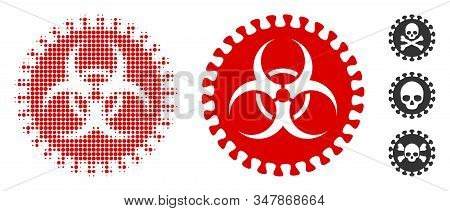 Virus hazard halftone vector icon and solid version. Illustration style is dotted iconic Virus hazard icon symbol on a white background. Halftone matrix is circle spots. Some bonus pictograms. stock photo