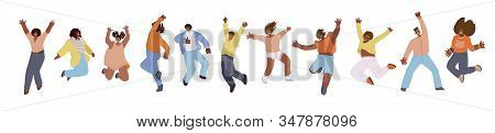 Vector flat collection of african american happy men and women, jumping and dancing with cheer, joy, happiness. African american jumping happy people illustration. Happiness, freedom, motion and motivational concept stock photo